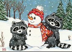 best raccoons images. Racoon clipart christmas