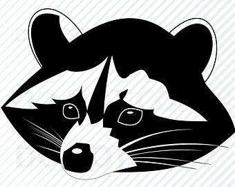 Racoon clipart head. Raccoon etsy