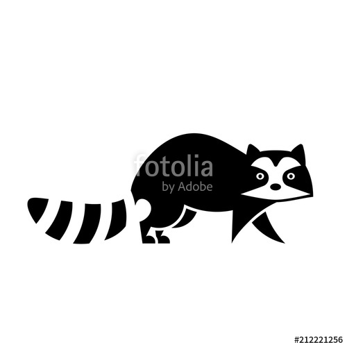 Vector raccoon icon stock. Racoon clipart outline