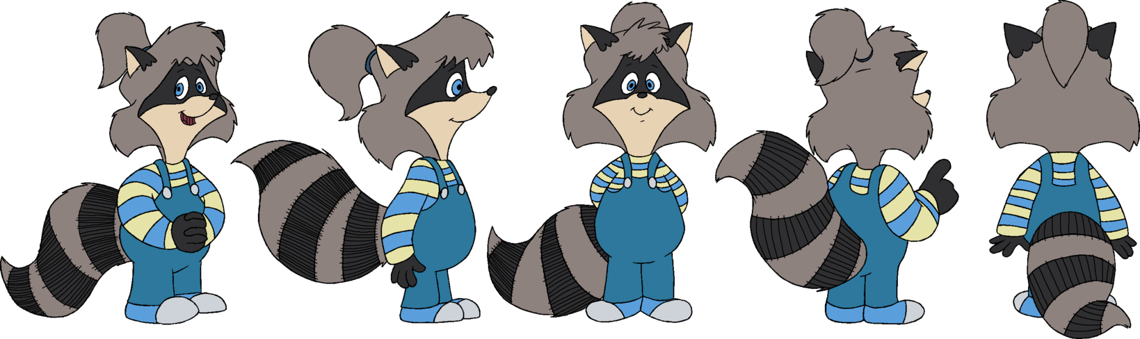 Girl fan model sheet. Racoon clipart raccoon tail