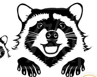 Racoon clipart svg. Raccoon etsy