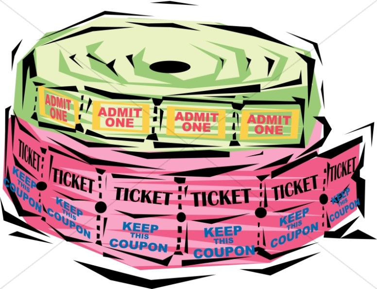 Raffle clipart. Festive ticket rolls church