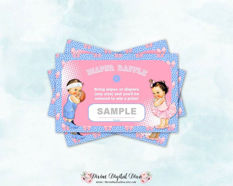 Diaper tickets ballet pink. Raffle clipart basketball ticket