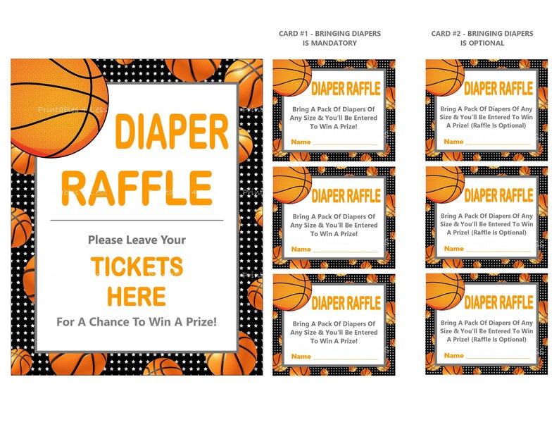 Diaper printable sign diy. Raffle clipart basketball ticket