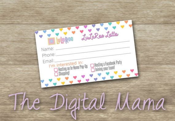 Raffle clipart business card. Instant download lularoe customer
