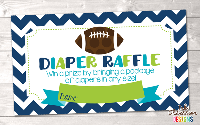 Raffle clipart football ticket. Baby shower printable diaper