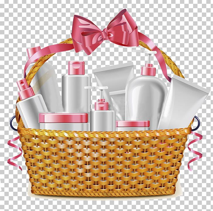 Cosmetics food gift baskets. Raffle clipart goodie basket