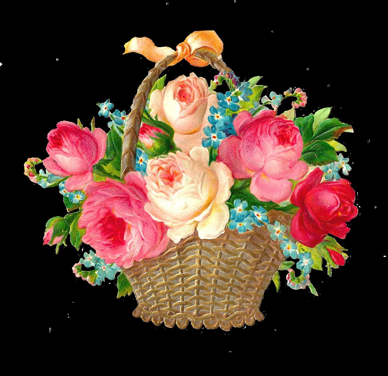 Raffle clipart vintage. Garden flower basket clip