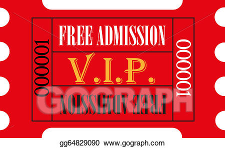 Ticket clipart entry. Stock illustrations red vip