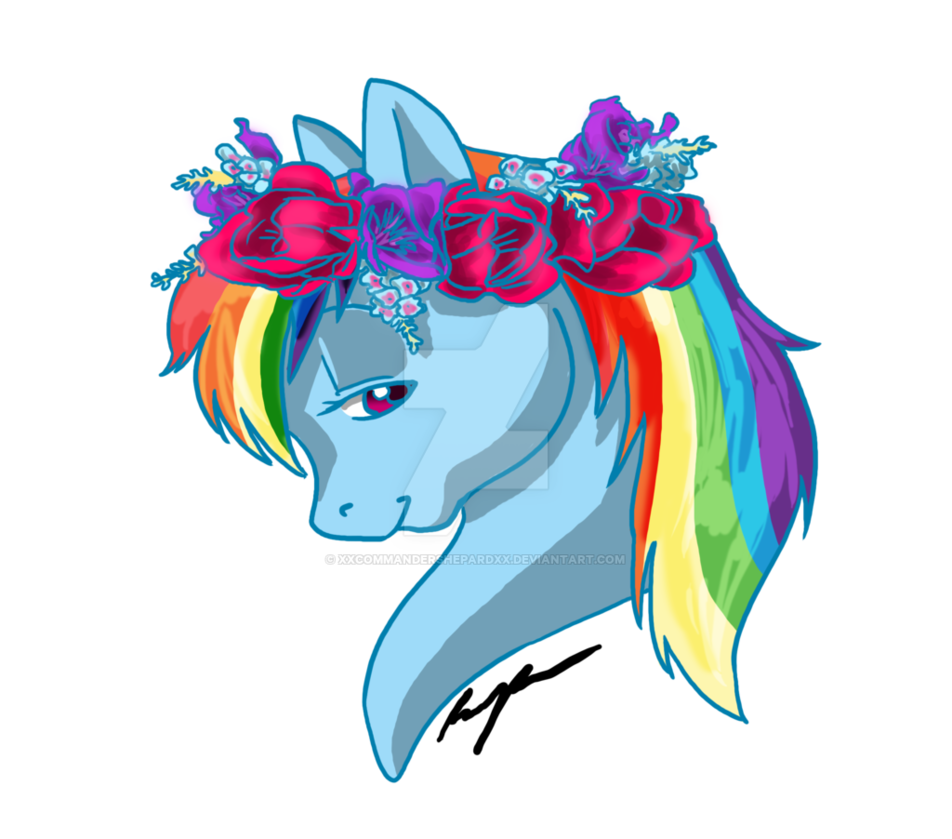 Rainbow flower crown png. Dash by xxcommandershepardxx on
