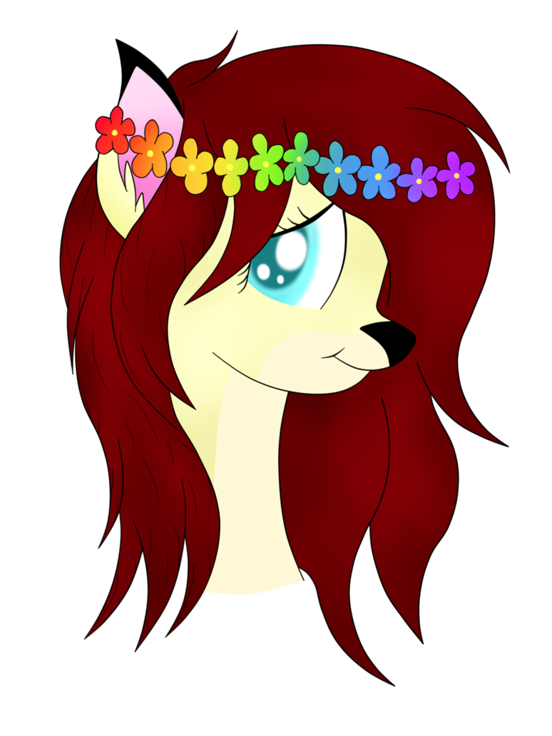 Forest fawn shy by. Rainbow flower crown png