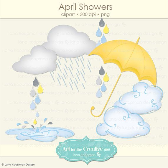 Showers umbrella clouds by. Raindrop clipart april shower