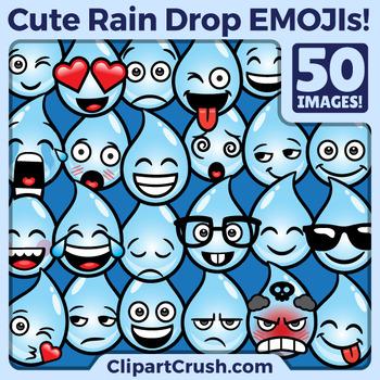 Raindrop clipart face. Cute cartoon rain drop