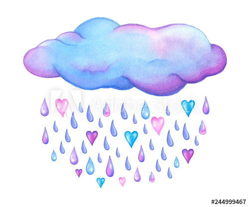 Cute watercolor cloud with. Raindrop clipart heart