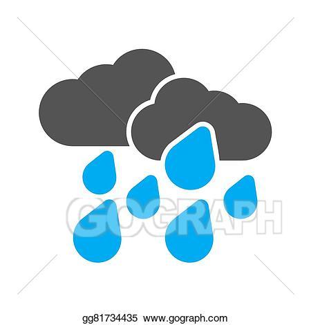 Vector art rain drawing. Raindrop clipart heavy rainfall