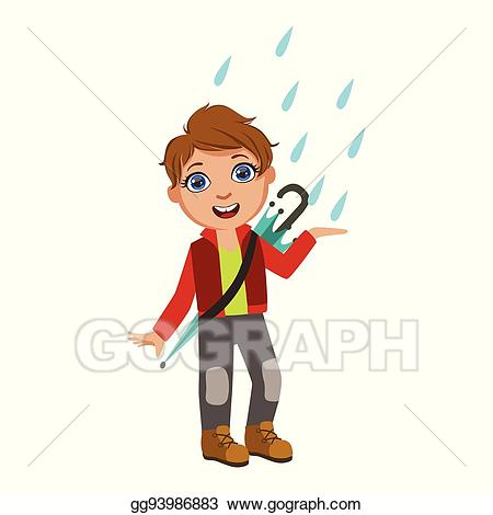 Raindrop clipart kid. Vector stock boy in