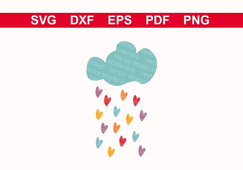 Raindrop clipart pdf. Raining cloud svg hearts