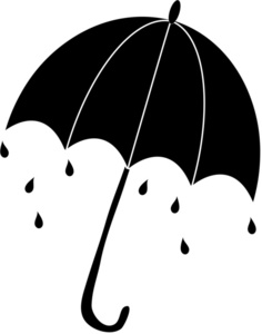 Raindrop clipart umbrella. Silhouette with raindrops falling