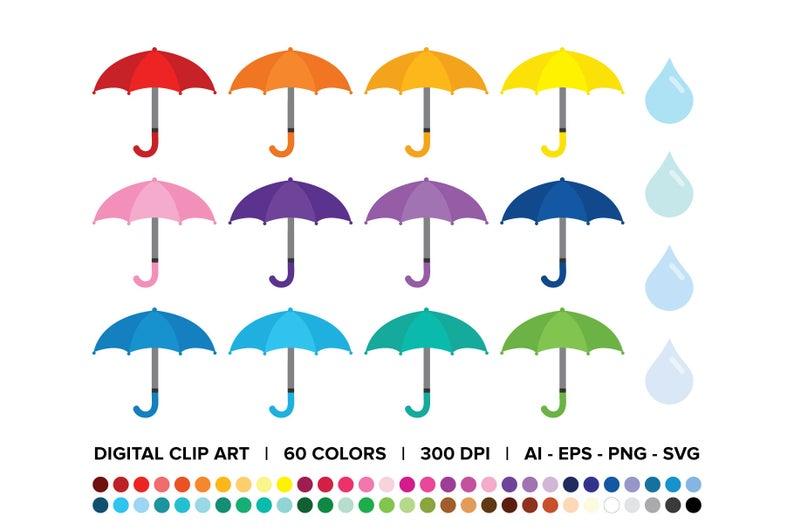 Raindrop clipart vector. Umbrellas and raindrops clip