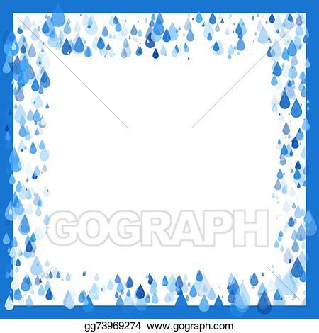 Raindrop clipart water frame. Vector illustration raindrops natural
