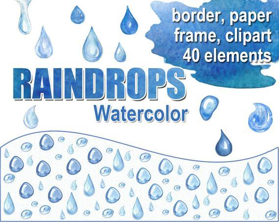 Digital watercolor raindrops border. Raindrop clipart water frame