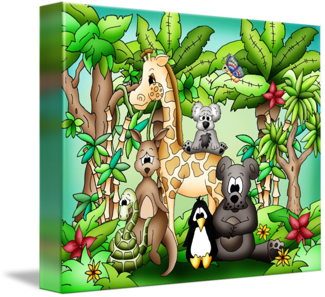 Zoo animals with giraffe. Rainforest clipart natural environment