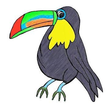 Toucan clipart rainforest creature. Doodles combo digital clip