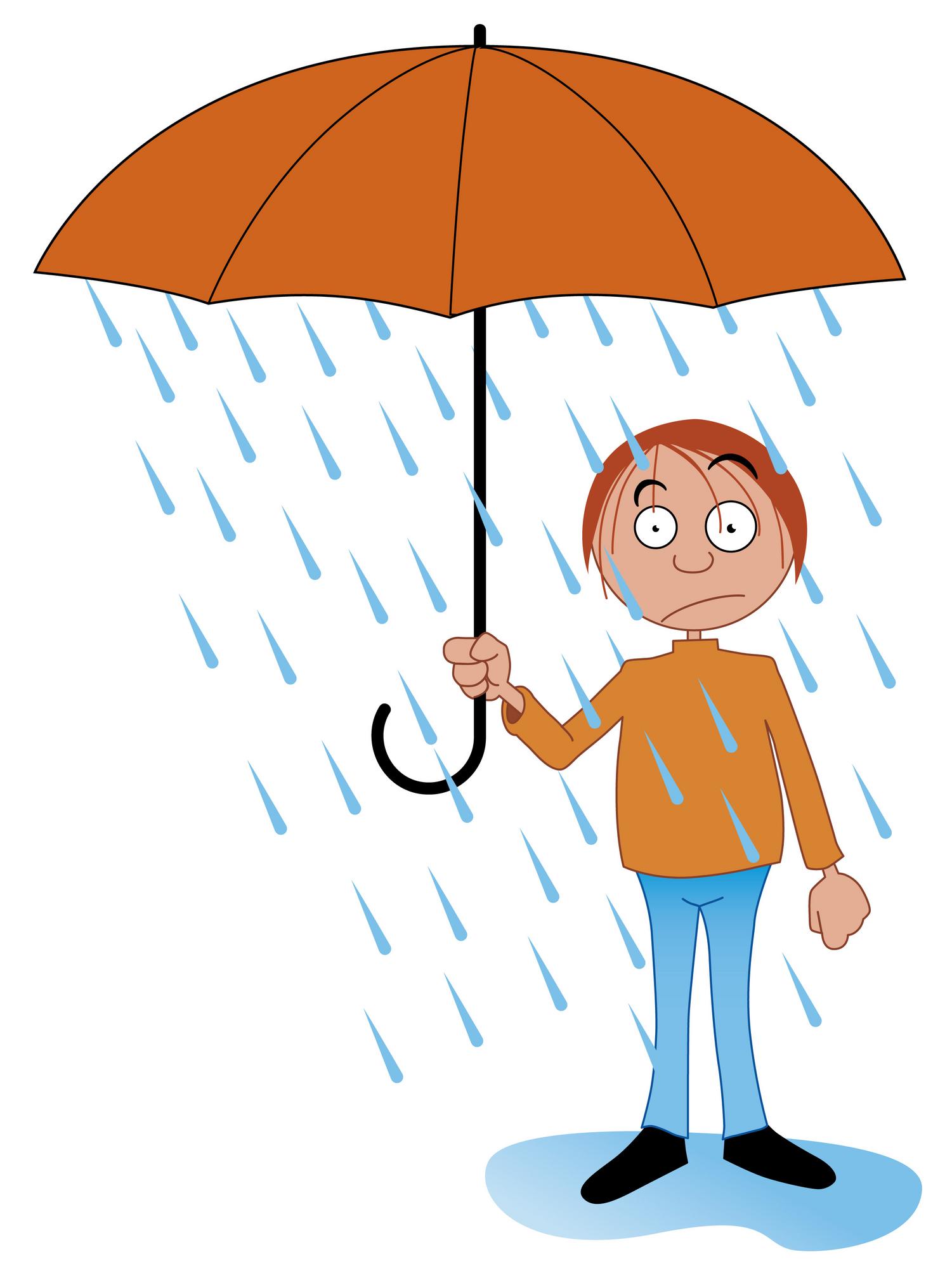 Raining station . Cloudy clipart man in rain