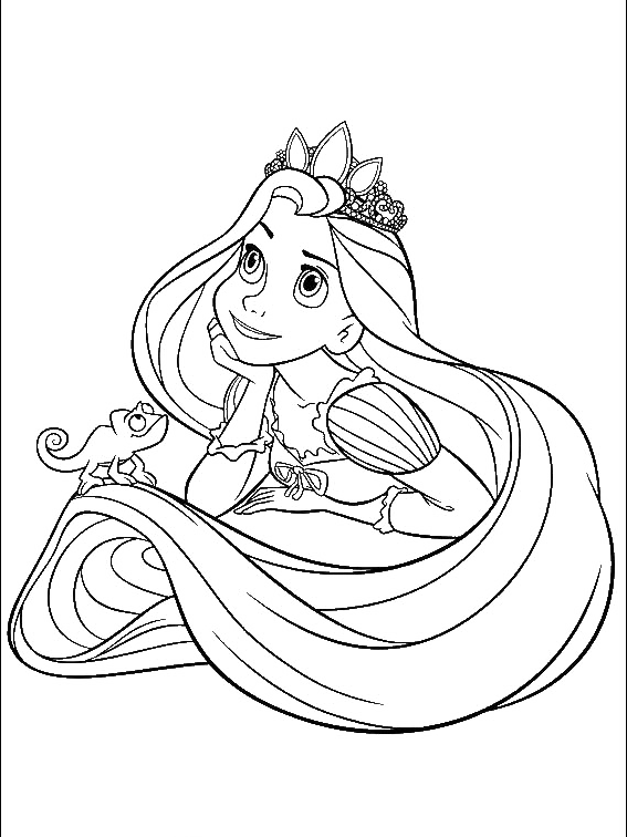 Rapunzel clipart black and white. Princess with her little