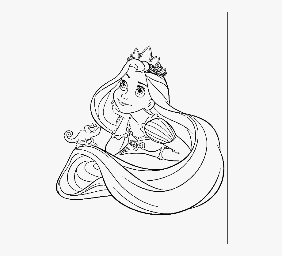 Rapunzel clipart black and white. Easy coloring