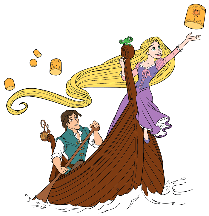 Rapunzel and Flynn Rider and Pascal and the Lanterns