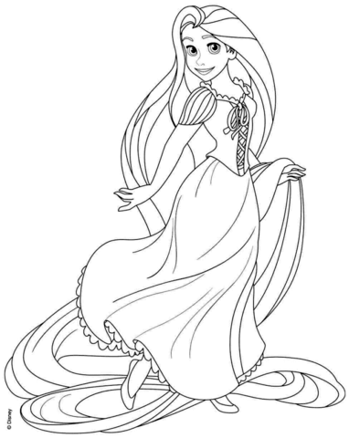 Rapunzel clipart line. From disney tangled coloring