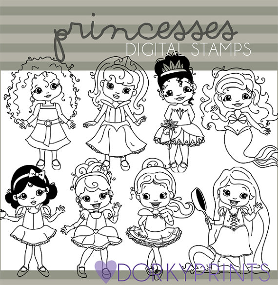 Rapunzel clipart line. Princess personal and limited