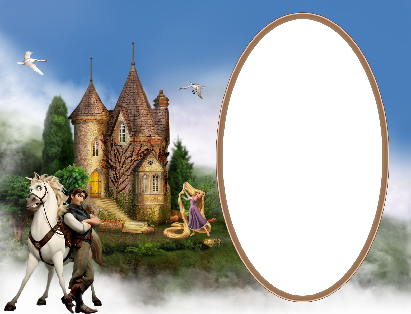 Kids png photo frame. Rapunzel clipart transparent background
