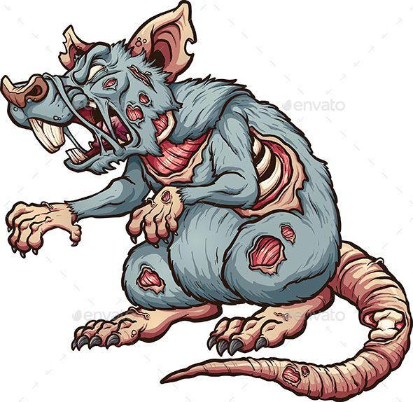 Wild striping in cartoon. Zombie clipart rat