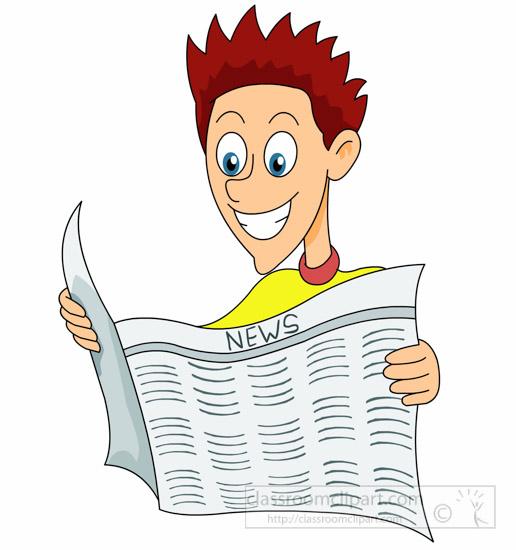 News clipart man. Free reading clip art
