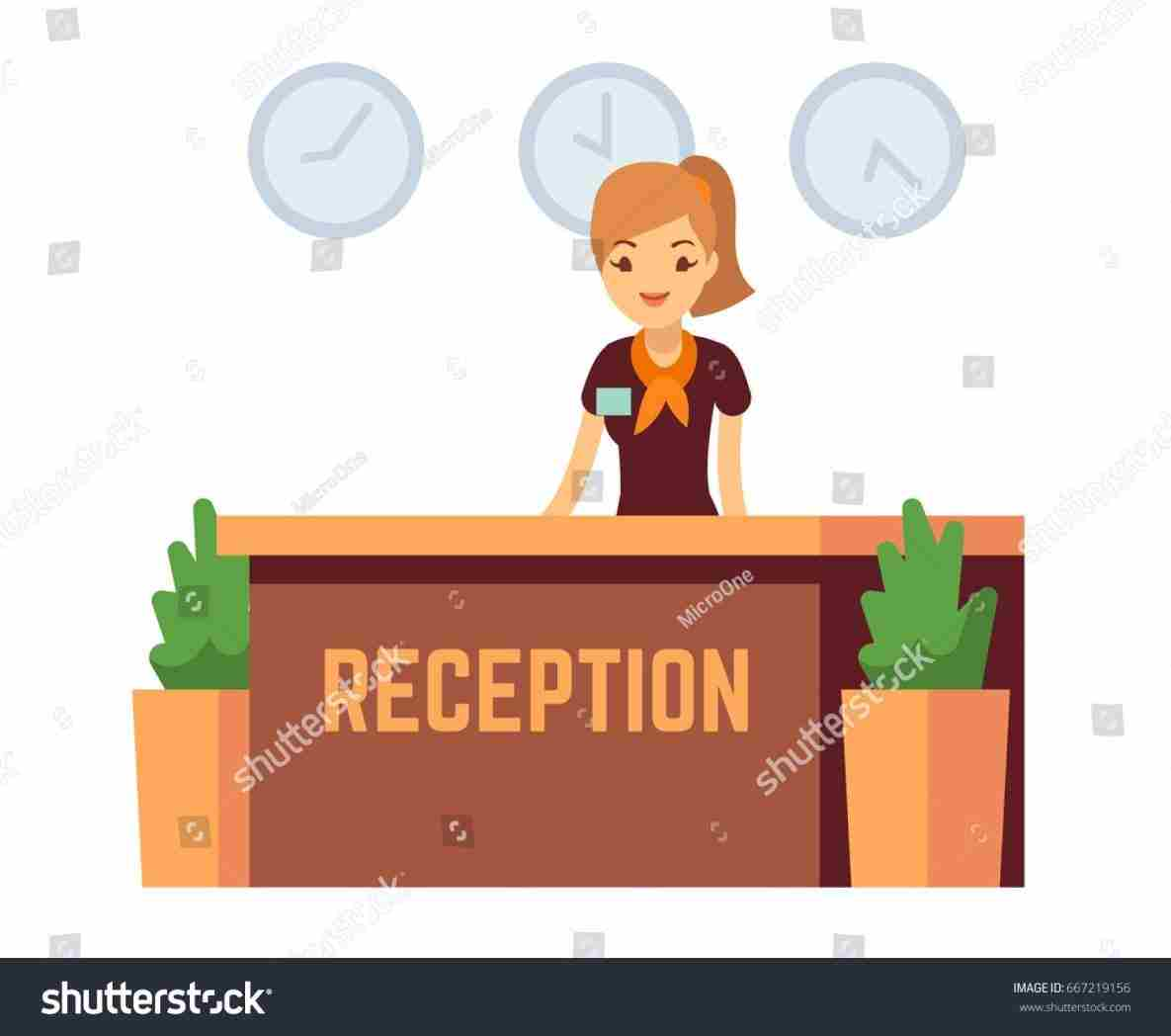 Receptionist clipart. Design hotel reception desk