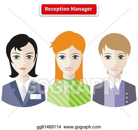 Receptionist clipart assistant manager. Vector illustration reception stock