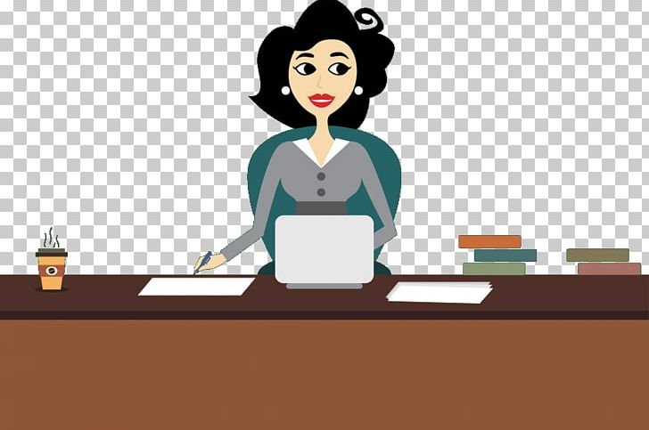 Administrative assistant drawing cartoon. Receptionist clipart business admin
