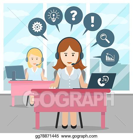 Receptionist clipart call center girl. Vector stock operator illustration
