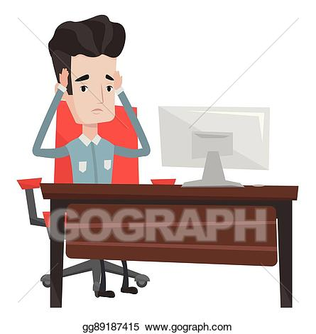 Clip art vector stressful. Receptionist clipart office stress