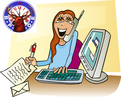 Receptionist clipart thank you. Elks front desk mahalo