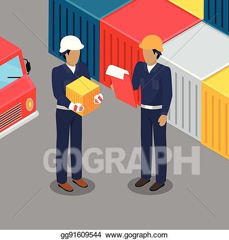 Vector art cargo worker. Receptionist clipart warehouse supervisor