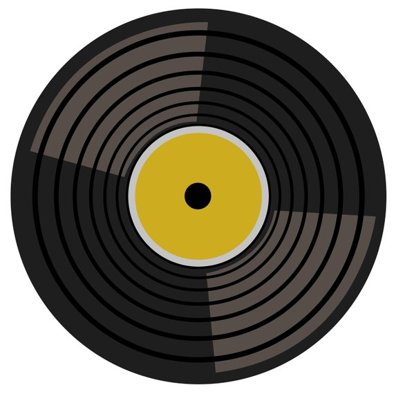 Retro music turntable records. Record clipart