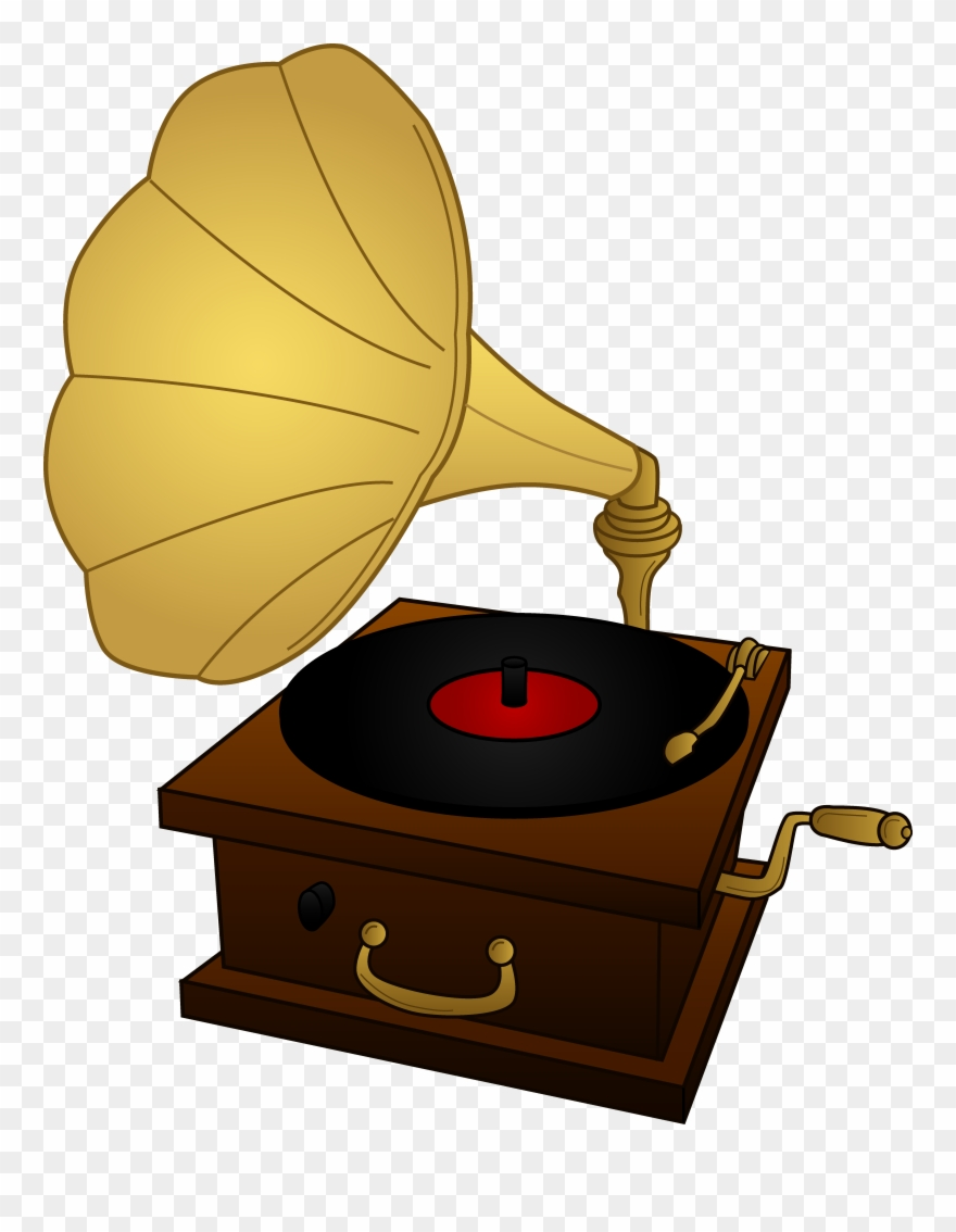 Record clipart cartoon. Old player drawing at