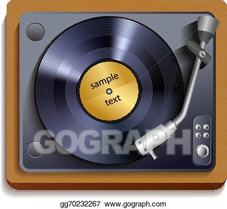 Vector art vinyl player. Record clipart print