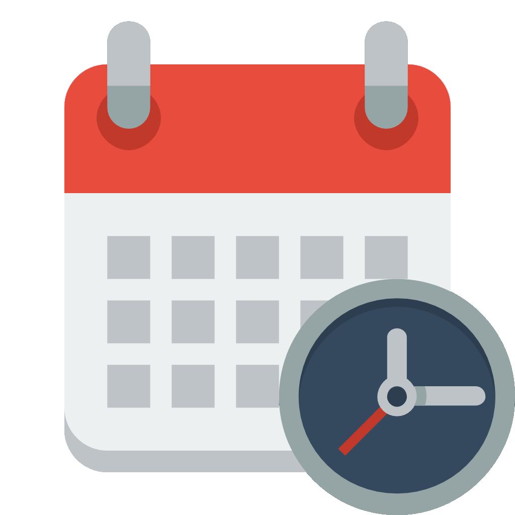 Calendar clock icon small. Stopwatch clipart reaction time
