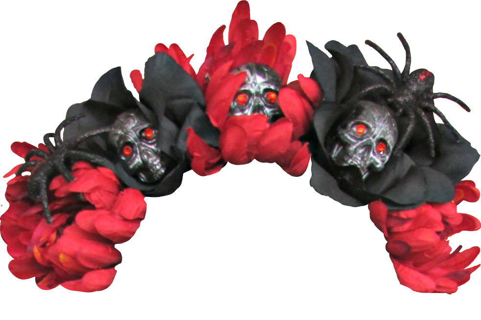 Halloween flowercrown sculls spiders. Red flower crown png