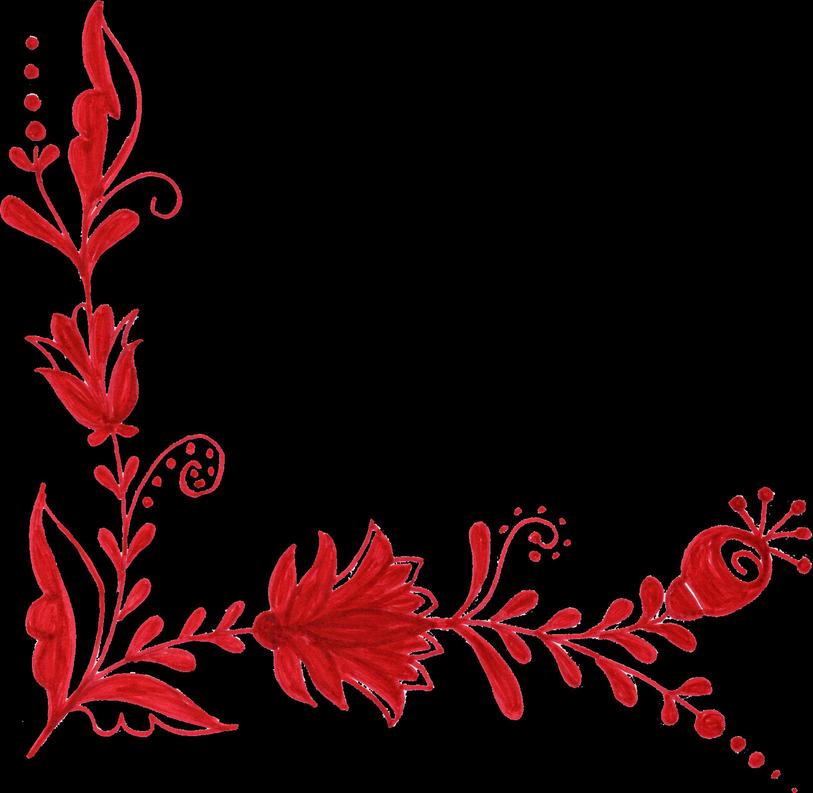 corner ornament transparent. Red flower png