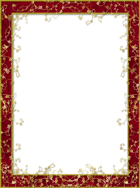 Frames transparent with gold. Red frame png